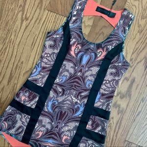 NWT Kardashian Kollection Lace Print Cut Out Dress